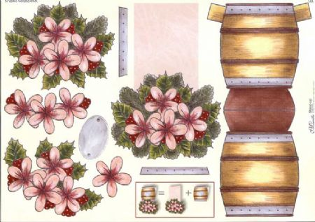 Christmas Flower Barrel Stand Up 3d Decoupage Sheet